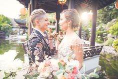 Happy Women, Happy Girls, Two Brides, Chinese Garden, Lesbian Wedding, Beautiful Bride, Real Weddings, Groom, Table Decorations