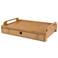 Levivo Breakfast Tray Made of Natural Bamboo Wood, Bamboo Serving Tray with Drawer for Napkins and Cutlery Storage, Wooden Lap Tray 43 x 31 x 7 cm Cutlery Storage, Lap Tray, Breakfast Tray, Food Presentation, Fries, Chrome, Basket, Stainless Steel, Entertaining