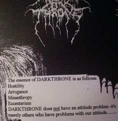 The essence of DARKTHRONE is as follows