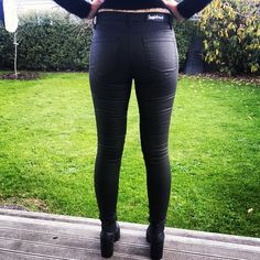 JunkFood Jeans Black Gloss Slip Jean www.wildpair.co.nz