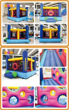 AQ03128(4*4*3.3m/13.12'*13.12'*10.83') Inflatable bouncer with an obstacle wall inside looks funny.Children can look outside clearly,and parents can keep an eye for their kids while playing!