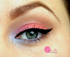 Pink Eye Shadow with Blue in the Inner Corner.