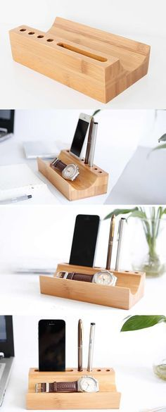 Wooden Bamboo Pen Pencil Stand Holder Smart Phone Dock Holder Desk Organizer