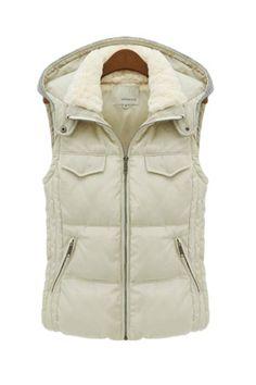 Cream White Women Fur Hood Collar Puffer Vest Jacket | Goodnight Macaroon
