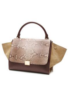 Celine Tricolor Python & Suede Medium Trapeze Bag
