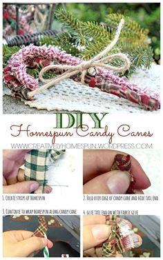 DIY Homespun Candy Canes for the Holiday! Easy to make! Just wrap some cheap Dollar Store canes! DIY Homespun Candy Canes for the Holiday! Easy to make! Just wrap some cheap Dollar Store canes! Dollar Store Christmas, Diy Christmas Ornaments, Christmas Candy, Homemade Christmas, Holiday Crafts, Christmas Decorations, Holiday Ideas, Cowboy Christmas, Country Christmas