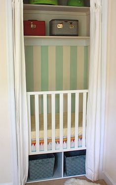 closet crib DIY--- some might think this is a cruel idea, but it's genius. A nice cozy nook all their own, plus enough space in the room for all the stuff that goes along w babies/ toddlers!