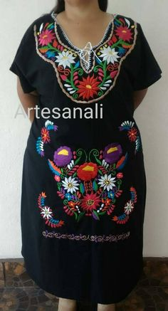 453b05288d8f9 Mexicaine brodé robe grande taille   taille 3XL-4XL mexicaine mexicain Robe  florale par Artesanali
