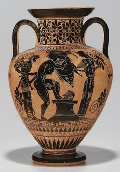AN ATTIC BLACK-FIGURED AMPHORA -  ATTRIBUTED TO THE MANNER OF THE  ANTIMENES PAINTER, CIRCA 520-510 B.C.