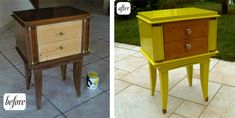 Side table before & after