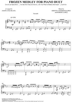 "Digital Sheet Music for ""Frozen Medley for Piano Duet"" by Robert Lopez including ""Love Is an Open Door,"" ""For the First Time in Forever,"" ""Do You Want to Build a Snowman?"" and ""Let It Go""scored for 1 Piano, 4 Hands"