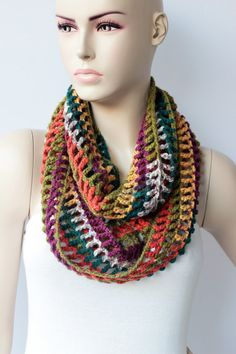 crochet infinity scarf crochet cowl scarf crochet  by under10USD, $9.90