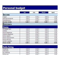 simple personal budget form - Google Search
