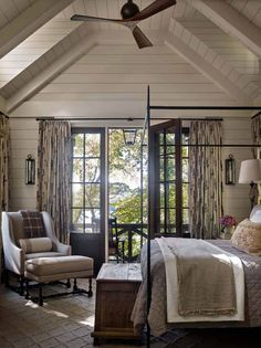 Beautiful bedrooms master - Whimsical lakeside cottage retreat with cozy interiors on Lake Keowee – Beautiful bedrooms master Indian Home Design, Home Bedroom, Modern Bedroom, Lake House Bedrooms, Bedroom Furniture, Cottage Bedroom Decor, Country Master Bedroom, Lake House Bathroom, Garage Bedroom