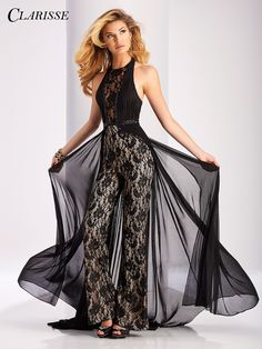 Clarisse Lace Halter Jumpsuit 3114. For formal occasions, black tie events and even prom! | Promgirl.net