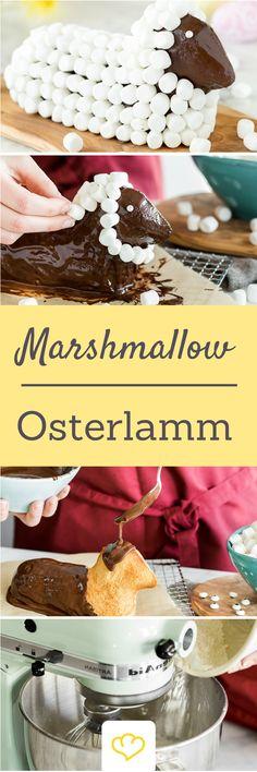 Super flauschig: Osterlamm mit Marshmallow-Wolle Ostern ist bei mir nicht nur die Zeitfür gefärbte Eier, sondern natürlich auch, wie eigentlich das ganze Jahr, die Zeit für Kuchen. Selbstverständlich kommt in meiner Backstube zu jedem Feststag das passende Gebäck in die Röhre: zu Weihnachten der Christstollen, zum Fasching die Berliner Ballen, zum Geburtstag der Geburtstagskuchen und zu Ostern eben das Osterlamm.