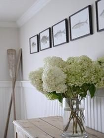 simple. Hydrangeas, photos of fish and some boat oars :)
