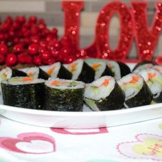 Rolling in Love on Valentines Day #sushi #sushirecipe #howtomakesushi