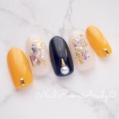 ネイビー×マスタード #イエロー #ネイビー #NailRoomArudy #ネイルブック Korean Nail Art, Korean Nails, Japanese Nail Design, Japanese Nails, Nail Art Kit, Nail Art Tools, Chic Nails, Stylish Nails, Aloha Nails