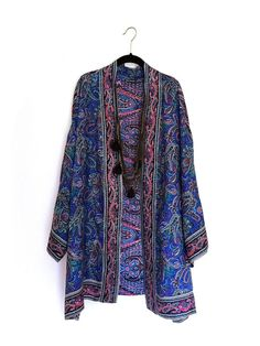 Silk Kimono jacket oversized / cocoon cover up blue paisley