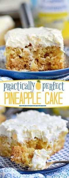 This Practically Perfect Pineapple Cake is loaded with pineapple flavor! Made without butter or oil, it's incredibly moist and topped with a delicious pineapple fluff frosting! // Mom On Timeout (chocolate cake frosting mom) 13 Desserts, Delicious Desserts, Yummy Food, Pineapple Desserts, Pineapple Recipes, Moist Pineapple Cake Recipe, Recipes With Crushed Pineapple, Sweet Recipes, Cake Recipes