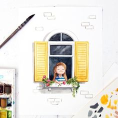 Let the sunshine in ☀️ ( confession… I have a thing for pretty windows ) - Fenster Art Drawings Simple, Art Painting, Girly Art, Cute Art, Whimsical Art, Window Illustration, Painting Art Projects, Watercolor Illustration, Watercolor Paintings Easy