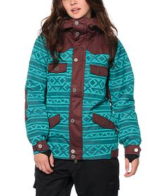 Stay nice and toasty from open to last chair with this slim fit snowboard jacket made with a tribal print water-resistant exterior, 60 grams insulation and a soft sherpa lining for all-day comfort and warmth.