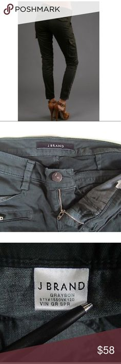 """J Brand Houlihan Cargo Pants NWOT Women's J Brand """"Greyson"""" skinny cargo jeans, size 24. Color is a dark forest green (spruce green). The first picture displays the color accurately.  NWOT- never worn  Item information:  Zipper with button closure Stretchy and soft twill denim Low to mid rise waist  2 regular front pocket, 2 front zipper faux pockets Back flap faux pockets with button closure Cargo style pocket on the side of each pant leg  Zipper on each hem  Slim fitting with a skinny leg…"""