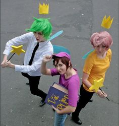 Fairy Odd Parents Cosplay. Would have to buy the wigs/ dye your hair I'm afraid :( But otherwise- awesome!