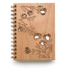 Rose Branches Journal Wooden Journal by Cardtorial on Etsy