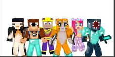 Stampy, Squid, L for Lee, Amy Lee, Finnball, and Rosie