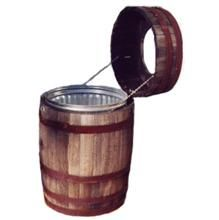 Whiskey barrel trash can. This would be great for empty cans to recycle.