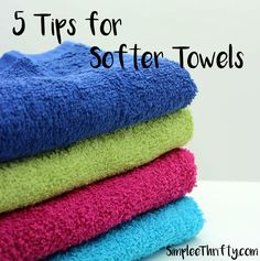 5 Tips for Softer Towels! Very inexpensive frugal living tips for softer towels.