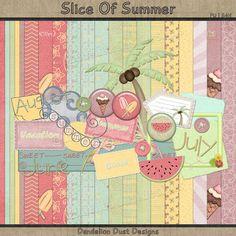 Digital Scrapbooking Slice Of Summer Kit #DandelionDustDesigns #DigitalScrapbooking