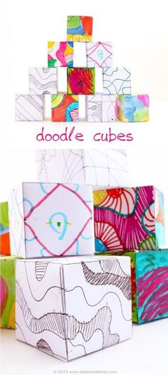 Doodle Cubes -- A fun art activity that helps kids translate 2 dimensional doodles to 3 dimensional artwork.