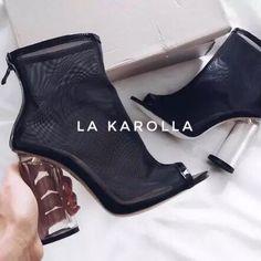 9a04de83fa723b See through transparent black ankle boots • La karolla • Tictail