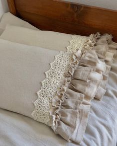 Excited to share this item from my shop: A Pair of Canvas Pillows Covers w Lace with Long Ruffles Bedding Decor Handmade French Country Farmhouse Wedding Gift Birthday Gift farmhouse decor dining room farmhouse decor diy farmhouse decor kitchen French Country Rug, French Country Bedrooms, French Country Decorating, French Decor, French Country Bedding, Bedroom Country, Rustic French, Vintage Country, Country Living