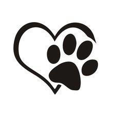 Nuevo Corazón de La Pata Del Vinilo truck car stickers bumper ventana adoptar matón Corazón Gato perro Portátil Automático(China)