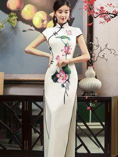 30dce7c09cca Ink Lotus Print Stand-collar Ao Dai Long Cheongsam – uoozee Abbigliamento  Cinese