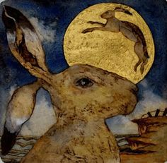 (artwork: Lunar Hare by Mandy Walden) Illustrations, Illustration Art, Thierry Martenon, May Full Moon, Pagan Festivals, Year Of The Rabbit, Rabbit Art, Rabbit Totem, Jack Rabbit