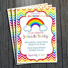 Rainbow Birthday Party Invitation by withlovegreetings on Etsy