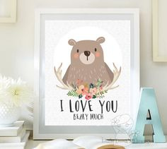 Woodland Nursery wall art print Printable von LittleEmmasFlowers
