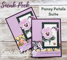New Annual Catalog Sneak Peek - Pansy Petals Suite [Create With Christy] Card Making Inspiration, Making Ideas, Tarjetas Stampin Up, Poinsettia Cards, Stampin Up Catalog, Embossed Cards, Stamping Up Cards, Card Tutorials, Scrapbook Cards