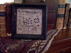 """EARLY INSPIRED ~1872 PEACOCK """"INSPIRATIONAL""""  SCHOOL GIRL SAMPLER~ (LB) Seller Name: theprimitivestitcher"""