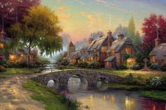 Cobblestone bridge, thomas kinkade, picture, art, painting, summer, cottage, thomas kinkade wallpaper