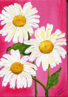 White Shasta daisies acrylics painting on pink canvas, Small Floral Wall Art, 5 x 7, pink and white daisies, acrylic paints stretched canvas by SharonFosterArt on Etsy