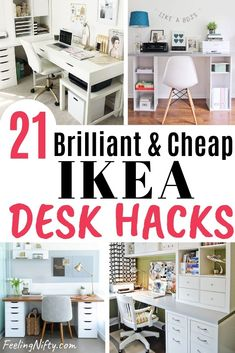 20 Awe-Inspiring Ikea Desk Hacks that are Affordable and Easy Buying a nice desk doesn't have to be expensive. Get inspired by these 20 budget friendly and gorgeous DIY Ikea desk hacks for your workspace Cheap Desk, Desk Hacks, Ikea Diy, Craft Room Desk, Room Desk, Ikea, Ikea Desk Hack, Home Office Design, Desk
