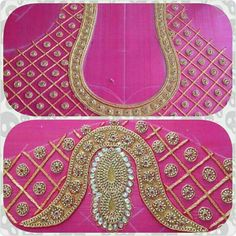 Add in m Mirror Work Blouse, Hand Work Blouse, Saree Blouse Neck Designs, Bridal Blouse Designs, Aari Embroidery, Hand Embroidery Designs, Hand Work Design, Maggam Work Designs, Sumo