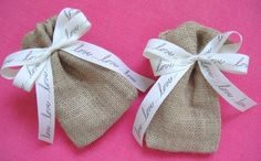 burlap favor bags tied with love ribbon