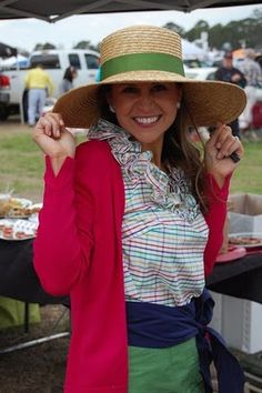 cute big Kentucky derby appropriate straw hat on sweet Lilly Pulitzer loving preppy girl at the Carolina cup. and her plaid shirt ruffles are so much fun!